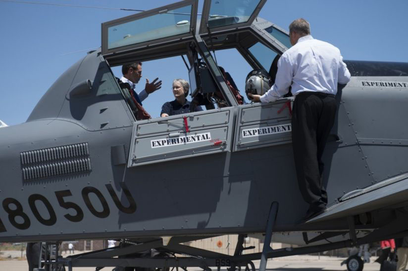 US Secretary of the Air Force Heather Wilson inspecting the OA-X 802L